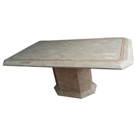 Tessellated Fossil Stone Pedestal Dining Table - Image 1 of 8