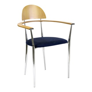 Italian Post Modern Memphis Style Arm Chair With Blue Seat and Molded Plywood Back