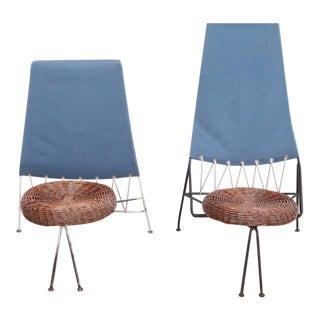 Rare Set of Tony Paul Male and Female Lounge Chairs, USA, 1950s