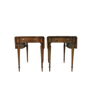 Hickory Chair Federal Serpentine Style Pembroke End/SideTables - A Pair