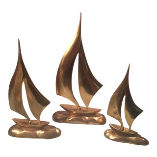 Mid Century Hollywood Regency Brass Sailboats Figurines - Set of 3