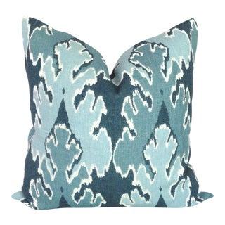 "20"" x 20"" Teal Blue Ikat Pillow Cover"