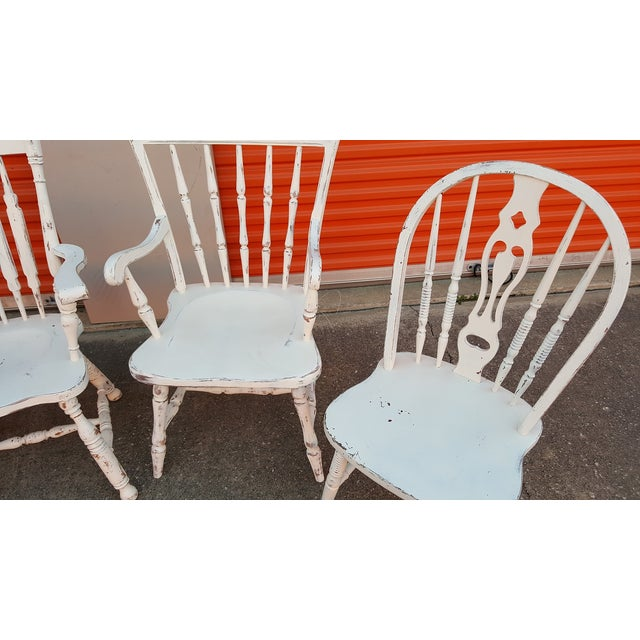 Mis-Matched Dining Chairs: Distressed in White - Image 3 of 4