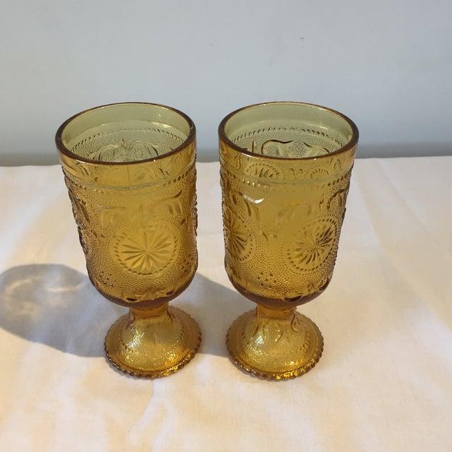 Vintage Amber Vintage Goblets - A Pair - Image 2 of 5