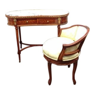 Inlaid Vanity with Marble Top, Gold Trim & Chair