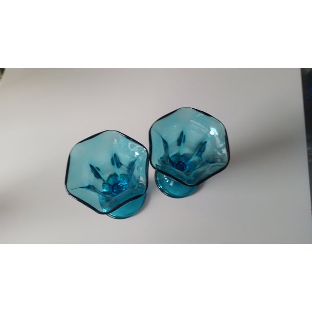 Vintage Teal Blue Glass Sundae Glasse - Pair - Image 3 of 4