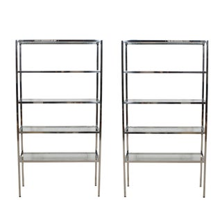 1970s Vintage Chrome & Glass Etageres/Display Shelves/Book Cases - a Pair