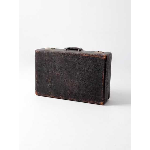 Vintage Black Leather Suitcase - Image 5 of 7