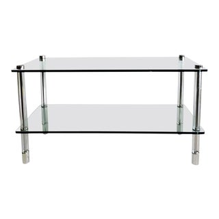 70's Chrome & Lucite 2-Tier Glass Table by Pace Collection