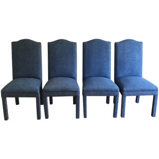 Denim Style Upholstered Parsons Chairs - Set of 4