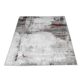 Abstract Striped Gray & Red Runner - 2'8'' x 5'