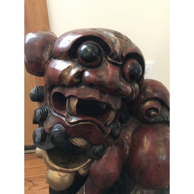 Pair of Carved and Painted Wooden Foo Dog Statues - Image 7 of 8