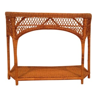 Natural Wicker Console Table