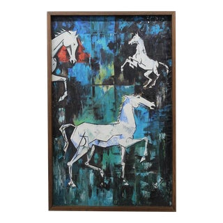 Mid-Century Modern Equestrian Abstract Painting