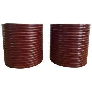 Red Japanese Hibachi Pots - A Pair