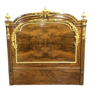 Antique Gold Accented French Headboard