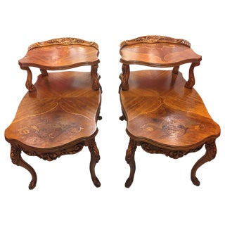 Double-Tier Carved Inlay End Tables - Pair