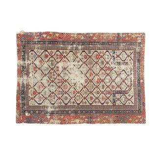 """Antique Fragmented Caucasian Prayer Square Rug - 2'10"""" x 3'11"""""""