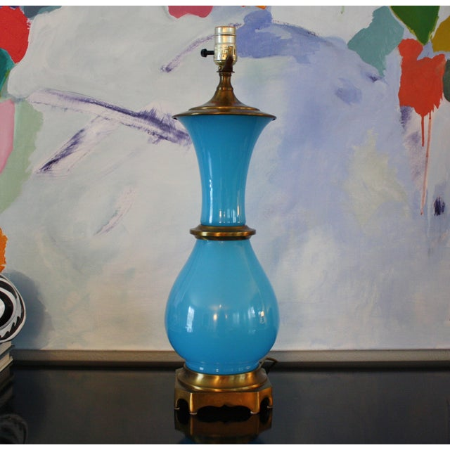 Vintage Murano Opaline Blue Lamp - Image 2 of 11