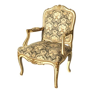 French Provincial Arm Chair With Floral Velvet Upholstery