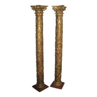 18th Century Antique Giltwood Columns - a Pair