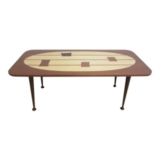 Custom Dark Mahogany Inlaid Mid-Century Coffee Table