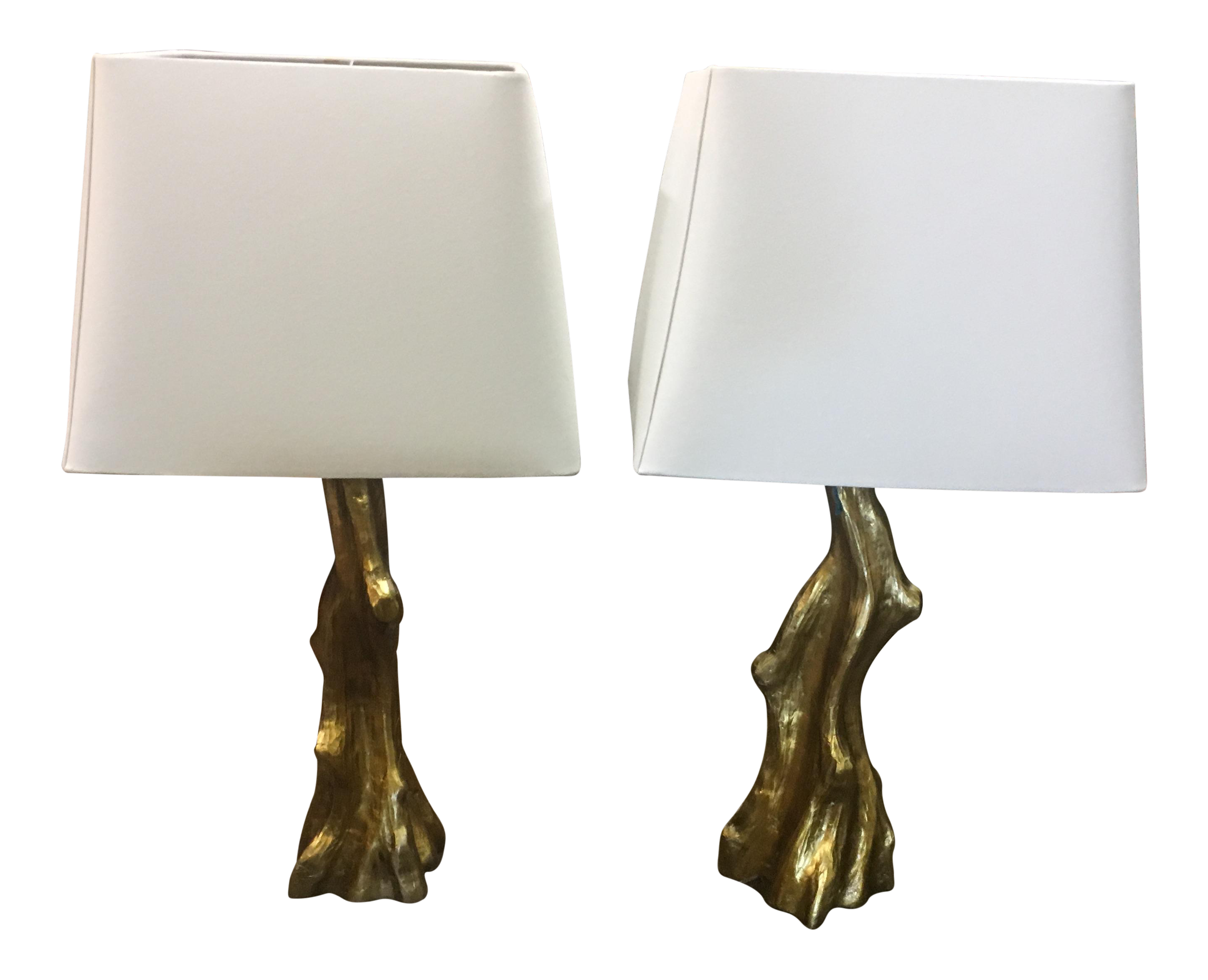 hollywood regency style gold leaf tree trunk lamps a pair