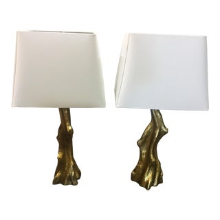 Hollywood Regency Style Gold Leaf Tree Trunk Lamps - A Pair