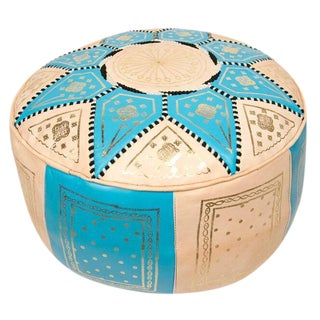 Turquoise Traditional Moroccan Pouf