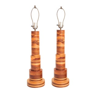 Wood Table Lamps - Pair