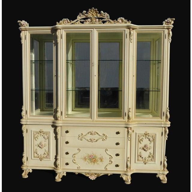 Vintage Off White Ornate Venetian China Cabinet - Image 2 of 11