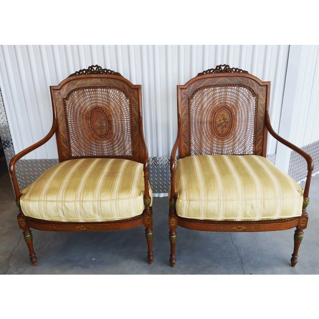 Hand Painted Satinwood Cane Back Chairs - Pair - Image 2 of 7