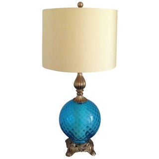 Hollywood Regency Glass Base Lamp