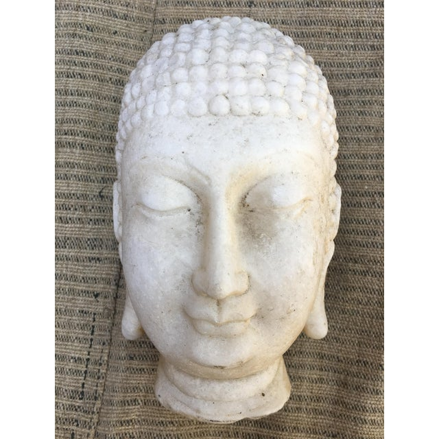 Hand Chiseled Marble Head of Buddha Statue - Image 3 of 6