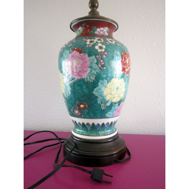 Image of Green Porcelain Lamp with Asian Motif
