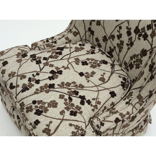 Image of Mid-Century Patterned Slipper Chair and Ottoman