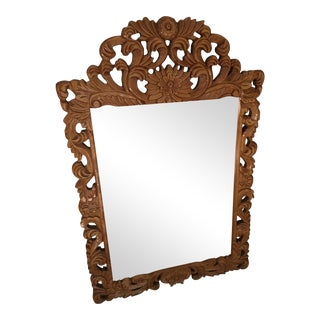 Hand Carved Wood Mirror