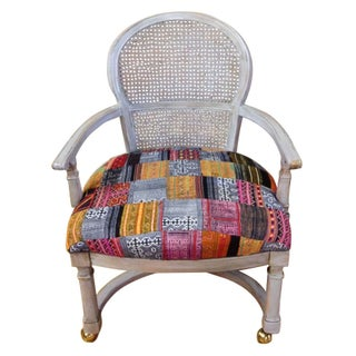 Caned Back Arm Chair Vintage Hill Tribe Fabric