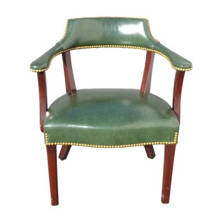 Vintage Hancock & Moore Green Leather Accent Chair