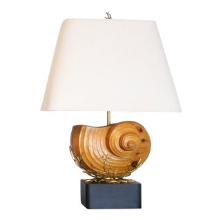 Carved Wood Nautilus Shell Lamps - A Pair