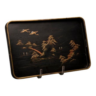 Black lacquer serving tray, China c.1890