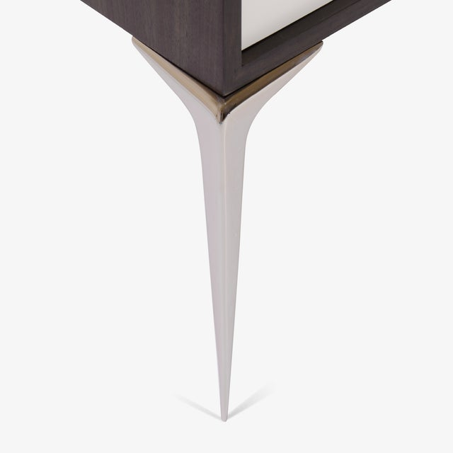 Colette Nickel Nightstands in Ebony & Ivory by Montage, Pair - Image 7 of 9