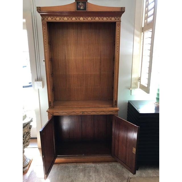 Image of Regency-Style Satinwood Floral Bookcase