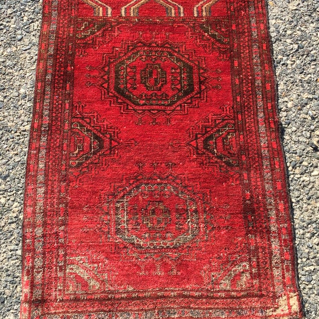 """Antique Turkaman Red Persian Rug - 1'10"""" x 2'10"""" - Image 3 of 7"""