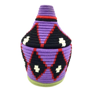 Purple and Black Moroccan Wool Basket