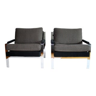 Pair of Milo Baughman Style Lounge Chairs by Cy Mann