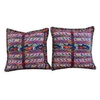 Pink and Blue Guatemalan Pillow Cushion - a Pair