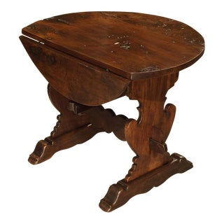 Early 1800's Italian Walnut Wood Drop Leaf Side Table