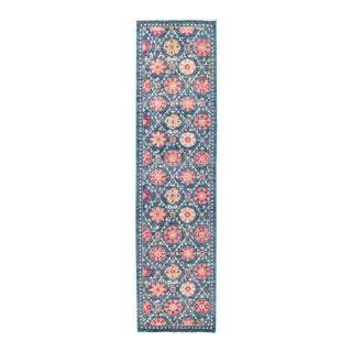 """New Blue & Pink Suzani Hand-Knotted Runner - 2' 8"""" x 10' 3"""""""