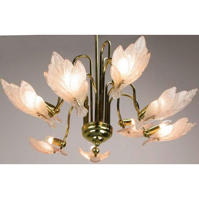 Nine Arm Murano Glass Leaf Chandelier In The Style Of Barovier & Toso - Image 3 of 5